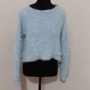 Love by Design Baby Blue Fuzzy  Knit Sweater M